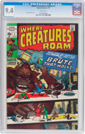 Bronze Age (1970-1979):Horror, Where Creatures Roam #1 (Marvel, 1970) CGC NM 9.4 White pages....