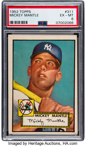 1952 Topps Mickey Mantle 311 Psa Ex Mt 6 Baseball Cards