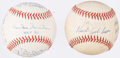 Autographs:Baseballs, Hall of Fame Signed Stat Baseball Lot of 2 -- Ashburn and Snider.....