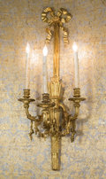 Lighting:Sconces, A Set of Four Louis XVI-Style Gilt Bronze Three-Light Wall Sconces. 38-1/2 h x 15 w x 11-1/2 d inches (97.8 x 38.1 x 29.2 cm... (Total: 4 Items)