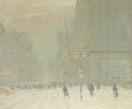 Fine Art - Painting, American:Other , Johann Berthelsen (American, 1883-1972). Winter Scene, New YorkCity, 42nd Street & 5th Avenue, circa mid-late 1940s. Oi...