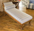 Furniture , An Empire-Style Classical Carved Mahogany Chaise Lounge Sofa, 19th century . 32 h x 77 w x 26 d inches (81.3 x 195.6 x 66.0 ...