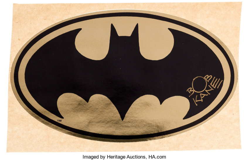 Memorabilia Superhero Batman Gold Foil Bat Seal Signed By Bob Kane Dc