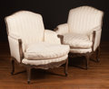 Furniture , A Pair of Louis XV-Style Upholstered Bergères, 20th century. 36 h x 29 w x 32 d inches (91.4 x 73.7 x 81.3 cm). ... (Total: 2 Items)