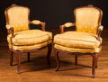 Furniture , A Pair of Louis XV-Style Walnut Petit Fauteuils with Yellow Silk Bee Upholstery, late 18th century. 31 h x 23 w x 14 d inche... (Total: 2 Items)