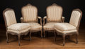 Furniture , Two Pairs of Louis XV-Style Fauteuils, 19th century. 39 h x 26 w x 22 d inches (99.1 x 66.0 x 55.9 cm) (each, approximate). ... (Total: 4 Items)