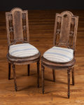 Furniture , A Pair of Diminutive Louis XVI Paint Decorated and Caned Side Chairs, late 18th century. 35 h x 12 w x 15 d inches (88.9 x 3... (Total: 2 Items)