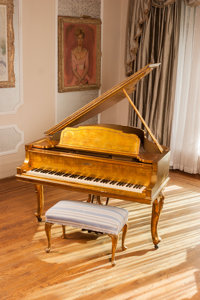 A Steinway Model M Grand Piano Used in the Movie Behind the Candelabra, Gilt Decorated by Zs