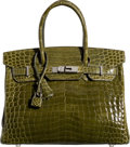 Luxury Accessories:Bags, Hermes 30cm Shiny Vert Veronese Nilo Crocodile Birkin Bag withPalladium Hardware . N Square, 2010 . Condition: 3....