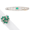 Estate Jewelry:Lots, Diamond, Emerald, Platinum, White Gold Jewelry. ... (Total: 2 Items)