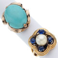 Estate Jewelry:Rings, Cultured Pearl, Sapphire, Turquoise, Gold Rings. ... (Total: 2Items)