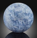 Lapidary Art:Eggs and Spheres, Blue Calcite Sphere. Stone Source: Brazil. ...