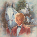 Fine Art - Painting, American:Contemporary   (1950 to present)  , Billie Tipper (20th Century). Zsa Zsa Gabor and her Stallion,Silver Fox, Los Angeles Olympics Ceremony 1984, 1990. Oil ...