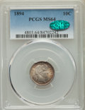 Barber Dimes: , 1894 10C MS64 PCGS. CAC. PCGS Population: (43/40). NGC Census: (33/30). CDN: $550 Whsle. Bid for problem-free NGC/PCGS MS64...