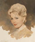 Fine Art - Painting, American:Contemporary   (1950 to present)  , Lembert de Soto (20th Century). Portrait of Zsa Zsa Gabor.Mixed media. 23 x 19 inches (58.4 x 48.2 cm) (sight). Signed ...
