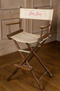 American:Academic, A Zsa Zsa Gabor Director's Chair, Circa 1970s.. The taller version,wooden frame (with water damage evident), white canvas s...
