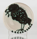 Sculpture, Pablo Picasso (1881-1973). Oiseau au ver, 1952. Partially glazed white earthenware ceramic round dish, painted in white ...