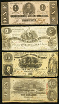 Confederate Notes:Group Lots, Four Confederate Treasury Notes 1861-1863.. ... (Total: 4 notes)