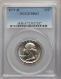 Washington Quarters, 1971-D 25C MS67 PCGS. PCGS Population: (64/1). NGC Census: (86/7). Mintage 258,634,432. ...