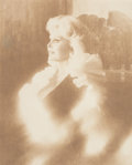 Fine Art - Painting, American:Contemporary   (1950 to present)  , Urbano Galindo (Spanish, 20th Century). Portrait of Zsa ZsaGabor. Photographic reproduction in sepia on canvas (the dre...