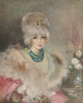Fine Art - Painting, American:Contemporary   (1950 to present)  , Endre Kompoczy Balogh (Hungarian, 1911-1977) . Portrait of JolieGabor with Fur Stole and Hat, 1963. Oil on canvas. 35 x...