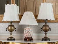 A Pair of English Brass Lamps with Chinese Porcelain Ginger Jar Lamp, late 19th century and later 31-3/4 inches hi