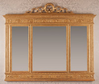 A Large Neoclassical Giltwood Overmantle Mirror, 19th century 59 inches high x 72 inches wide (149.9 x 182.9 cm)