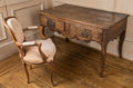 Furniture , A Large French Provinical Oak Console Server with Louis XV-Style Fauteuil, mid-18th century and later. 31-1/2 h x 52 w x 29 ... (Total: 2 Items)
