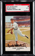 Autographs:Sports Cards, Signed 1961 Golden Press Carl Hubbell #6 SGC Authentic. ...