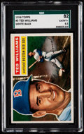 Baseball Cards:Singles (1950-1959), 1956 Topps Ted Williams (White Back) #5 SGC 82 EX/MT+ 6.5.. ...