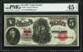 Large Size:Legal Tender Notes, Fr. 88 $5 1907 Legal Tender PMG Choice Extremely Fine 45 EPQ.. ...