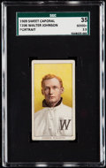 Baseball Cards:Singles (Pre-1930), 1909-11 T206 Sweet Caporal Walter Johnson (Portrait) SGC 35 Good+2.5.. ...