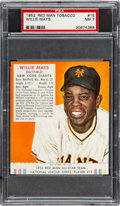 Baseball Cards:Singles (1950-1959), 1952 Red Man (With Tab) Willie Mays #15N PSA NM 7....