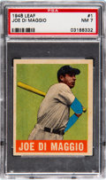 Baseball Cards:Singles (1940-1949), 1948 Leaf Joe DiMaggio #1 PSA NM 7....