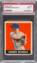 Baseball Cards:Singles (1940-1949), 1948 Leaf Casimer Michaels #13 PSA NM 7. Scarce sh...