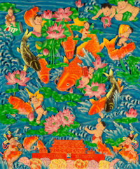 The Luo Brothers (Chinese, 20th century) Untitled Wood relief with handpainting 47-1/8 x 39-1/8 i
