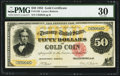 Large Size:Gold Certificates, Fr. 1193 $50 1882 Gold Certificate PMG Very Fine 30.. ...
