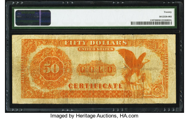 fr 1197 50 1882 gold certificate pmg very fine 20 large
