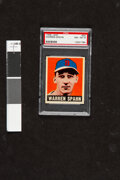 Baseball Cards:Singles (1940-1949), 1948 Leaf Warren Spahn #32 PSA NM-MT 8. With a lif...