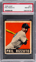 Baseball Cards:Singles (1940-1949), 1948 Leaf Phil Rizzuto #11 PSA NM-MT 8 - Three Higher....