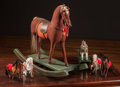 Decorative Arts, Continental:Other , A Group of Six Tabletop Horse Figures with Child's Rocking Horse,early 20th century and later . 28 h x 33 w x 12 d inches (...(Total: 6 Items)
