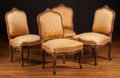 Furniture , Two Pairs of Louis XV-Style Side Chairs with Yellow Silk Bee Upholstery, 19th century. 36 h x 22 w x 18 d inches (91.4 x 55.... (Total: 4 Items)