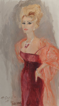 Peter Sheil (American, 20th Century) Portrait of Zsa Zsa Gabor, circa 1960 Oil on canvas 49 x 27