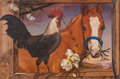 Fine Art - Painting, American:Contemporary   (1950 to present)  , Ralph Wolfe Cowan (American, b. 1931). Horse and Rooster,1987. Oil on canvas board. 23-1/2 x 35 inches (59.6 x 88.9 cm)...