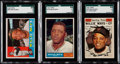 Baseball Cards:Lots, 1960 & 1961 Topps Willie Mays SGC-Graded Trio (3). ...