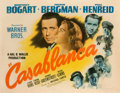 "Movie/TV Memorabilia:Posters, A 'Style B' Half-Sheet Movie Poster from ""Casablanca.""..."