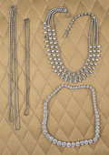 American:Academic, A Zsa Zsa Gabor Collection of Rhinestone Necklaces, Circa1970s-1980s.. Six total; four in silver-tone settings; two ingold... (Total: 6 Items)