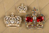 A Zsa Zsa Gabor Group of Crown Brooches, Circa 1980s. Three total; one with multi-colored faux stones; the other t