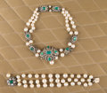 American:Academic, A Zsa Zsa Gabor Suite of Fine Costume Jewelry, Circa 1950s.. Achoker with rhinestones, green glass stones, and faux pearls ...(Total: 2 Items)