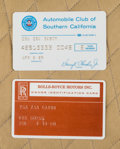 Other, A Zsa Zsa Gabor Pair of ID Cards, 1980s.. Two total; the first a Rolls-Royce Motors, Inc. Owner Identification Card showing ... (Total: 2 Items)